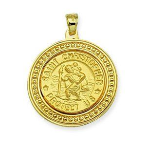 14K Solid Gold St. Christopher Protect Us Pendant
